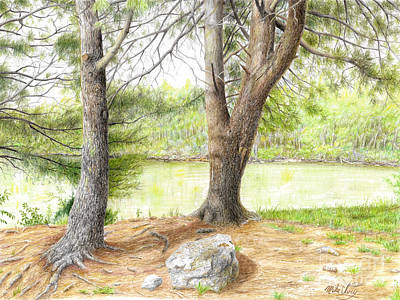 Art Print featuring the drawing Warriors Path St Park by Mike Ivey