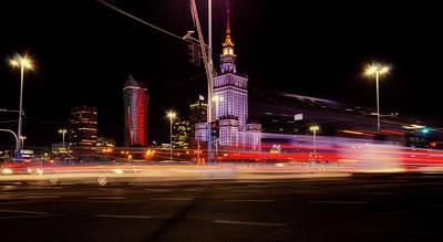 Photograph - Warsaw Night Traffic by Peter Heeling