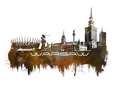 Warsaw Digital Art - Warsaw Skyline City Brown by Justyna JBJart