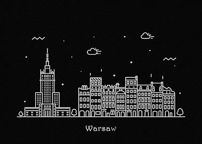 Drawing - Warsaw Skyline Travel Poster by Inspirowl Design