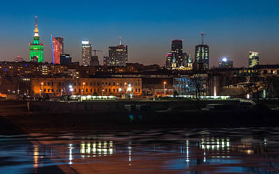Photograph - Warsaw Uptown Skyline Seen From Swietokrzyski Bridge by Julis Simo