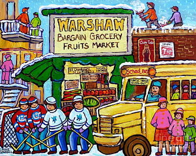 Warshaw Fruit Market Montreal Street Scenes Hockey Art Carole Spandau Canadian Paintings             Original by Carole Spandau