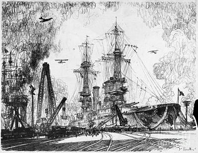 Drawing - Warship, 1917 by Granger