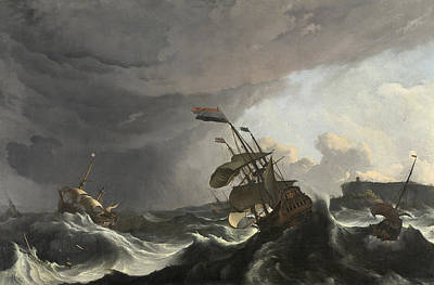 Painting - Warships In A Heavy Storm by Ludolf Bakhuizen