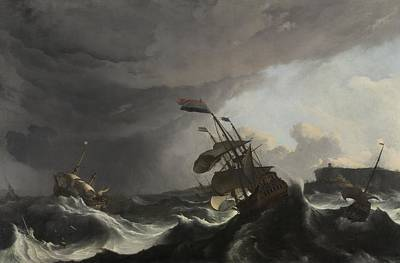 Painting - Warships In A Heavy Storm Ludolf Bakhuysen  C 1695 by R Muirhead Art