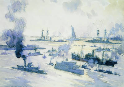 Painting - Warships In The Harbor by Joseph Pennell