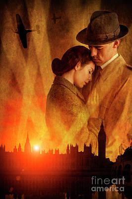 Photograph - Wartime Couple London Blitz by Lee Avison