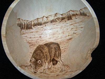 Pyrography - Wary Wolf by Adam Owen