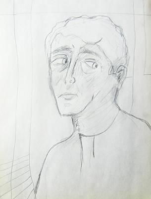 Abstract Expressionism Drawing - Wary Young Man--simple Sketch by Judith Redman