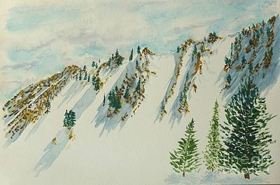 Painting - Wasatch Mountain Powder Chutes by Walt Brodis