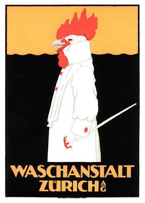 Mixed Media - Waschanstalt Zurich - German Rooster - Vintage Advertising Poster by Studio Grafiikka