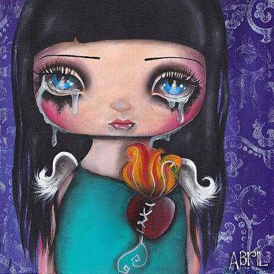 Tear Painting - Wash Away My Tears by  Abril Andrade Griffith