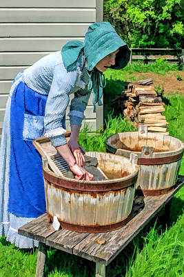 Clothes Washing Painting - Wash Day At Old World Wisconsin by Christopher Arndt