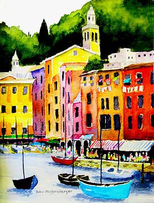 Portofino Italy Painting - Wash Day At Portofino by John Wolfersberger