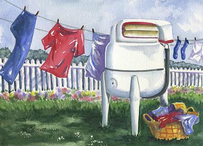 Clothes Washing Painting - Wash Day Blues by Marsha Elliott
