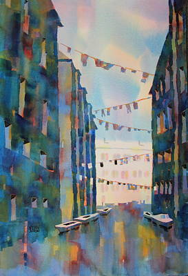 Wash Day In Venice Italy Art Print