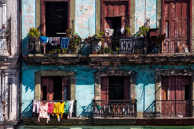Chipping Paint Photograph - Wash Day On The Prado - Havana by Mountain Dreams