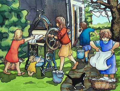 Washday Painting - Wash Day At Clay Street by Paula Chapman