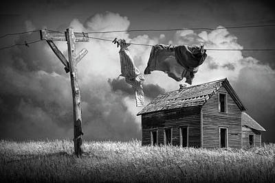 Photograph - Wash On The Line In Black And White by Randall Nyhof