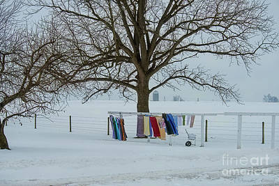 Photograph - Wash On The Line In December Snow by David Arment
