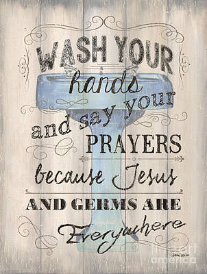 Saying Painting - Wash Your Hands by Debbie DeWitt