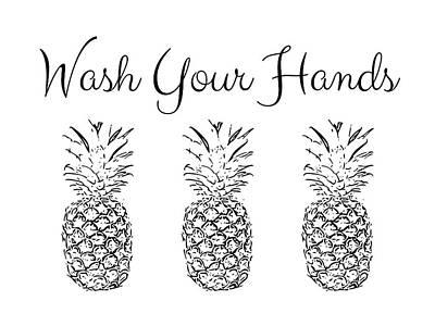 Pineapple Digital Art - Wash Your Hands Pineapples- Art By Linda Woods by Linda Woods