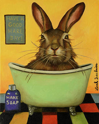 Painting - Wash Your Hare by Leah Saulnier The Painting Maniac