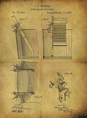 Old Washboards Drawing - Washboard Patent by Dan Sproul