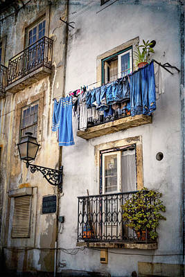 Vintage Laundry Photograph - Washday Blues In Lisbon Portugal  by Carol Japp