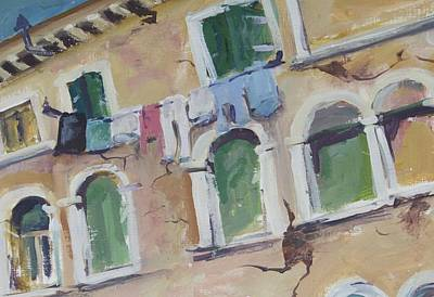 Laundry Painting - Washday In Venice by Mickey Bissell