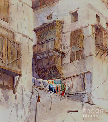 Souq Painting - Washday Jeddah by Dorothy Boyer