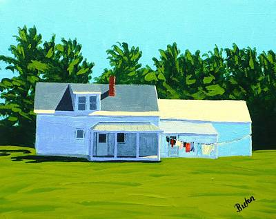 Maine Landscapes Painting - Washday by Laurie Breton