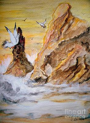 Art Print featuring the painting Washed Rocks by Carol Grimes