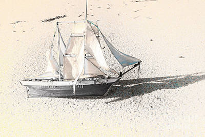 Washed Up Wooden Boat Art Print