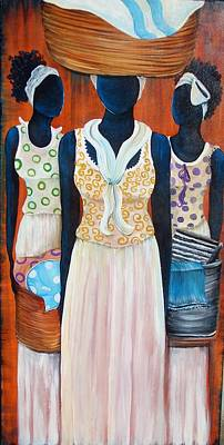 Gullah Geechee Painting - Washer Women by Sonja Griffin Evans