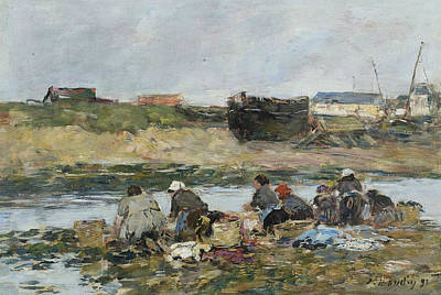 Painting - Washers On The Touques Near Trouville by Eugene Boudin