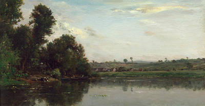 Rural Painting - Washerwomen At The Oise River Near Valmondois by Charles-Francois Daubigny