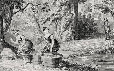 Disturbing Drawing - Washerwomen Disturbed By Waverley by Vintage Design Pics