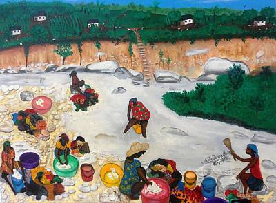 Painting - Washing Clothes By The Riverside In Haiti by Nicole Jean-Louis