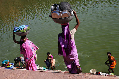 Washing Day Sari Clad Women Ghat Steps India Art Print by Jane McDougall