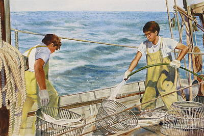 Painting - Washing Fish by Karol Wyckoff