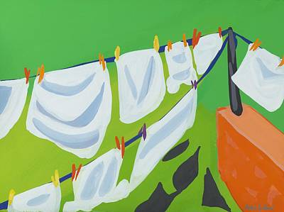 Line Movement Wall Art - Painting - Washing Line by Sarah Gillard