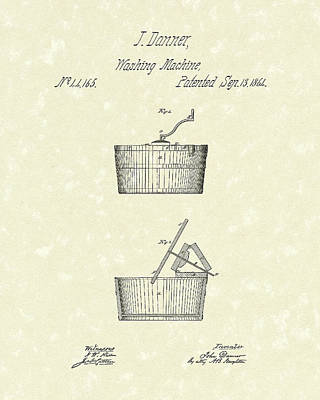 Drawing - Washing Machine 1861 Patent Art by Prior Art Design