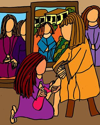 Washing The Feet Of Jesus Art Print by Nanette Patricia Evans