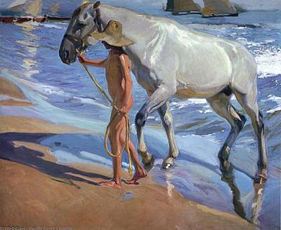 Painting - Washing The Horse by Juaquin Sorolla