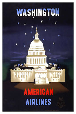 Landmarks Mixed Media - Washington American Airlines by David Wagner