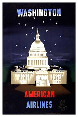 Capitol Building Wall Art - Mixed Media - Washington, American Airlines - Retro Travel Poster - Vintage Poster by Studio Grafiikka