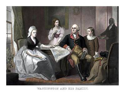 Landmarks Painting Royalty Free Images - Washington And His Family Royalty-Free Image by War Is Hell Store
