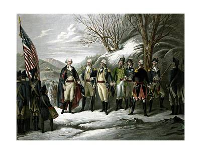 George Washington Drawing - Washington And His Generals  by War Is Hell Store