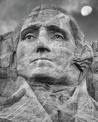 Photograph - Washington And Setting Moon Bw by Jerry Fornarotto